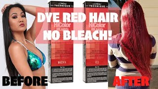 HOW TO DYE BLACK TO BRIGHT RED HAIR WITHOUT BLEACH!!