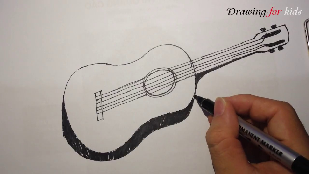 How To Draw A Guitar In A Few Easy Steps Cartoon Guitar Youtube