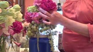 Impressive Fruit And Flowers Tall Wedding Centerpiece With Green Grapes - Diy Tutorial -  Part 2