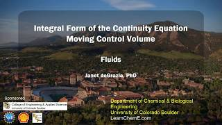 Integral Form of the Continuity Equation - Moving Control Volume