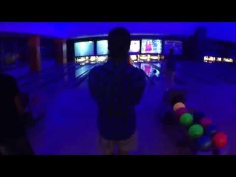 Brandon bowling like a pro at Albrook Mall in Panama City, Panama.