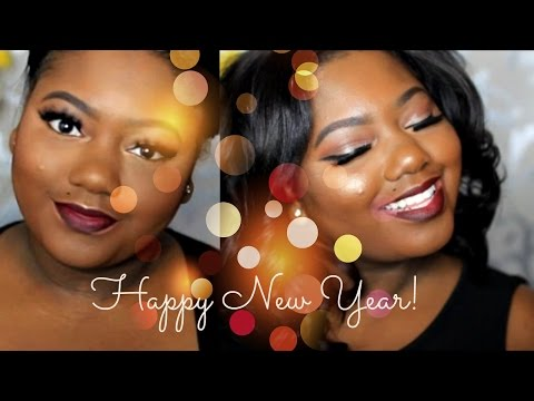 Classic New Years/ New Years Eve Holiday Makeup Tutorial- Dramatic Lashes & Smokey Red Lips - 동영상