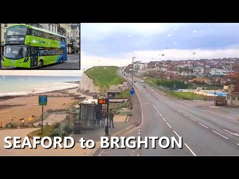 ***Front Bus Ride*** SEAFORD TO BRIGHTON, SOUTH ENGLAND, UK - Most Scenic Route in UK***