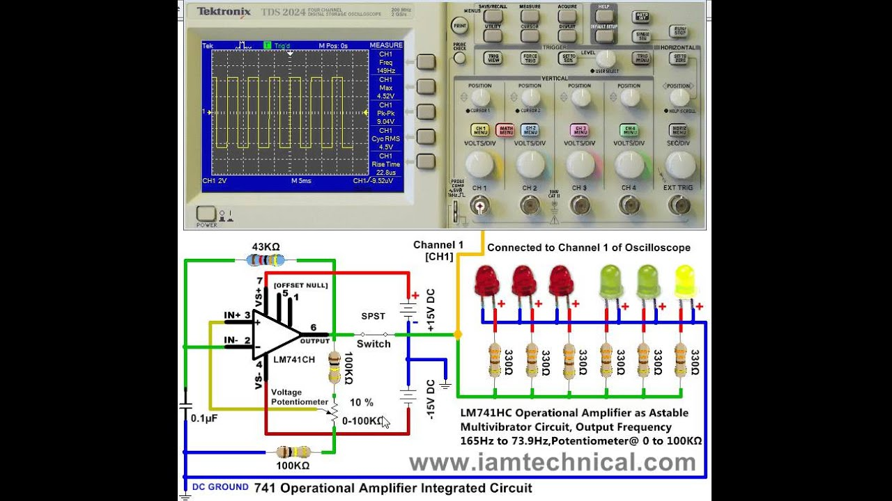 12v Astable Multivibrator Circuit Everything About Wiring Diagram Circuitmonostable Using 555 Timer Ic Lm741 Operational Amplifier Connected To Oscilloscope Output Breadboard