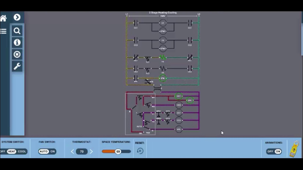 Two Stage Heating Cooling Interactive Wiring Diagram HVAC - YouTube