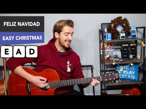 Feliz Navidad Christmas Song Guitar Lesson // Very Easy Tutorial