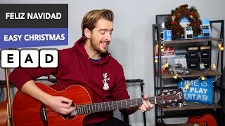 Feliz Navidad Christmas Song Guitar Lesson // Very Easy Tutorial
