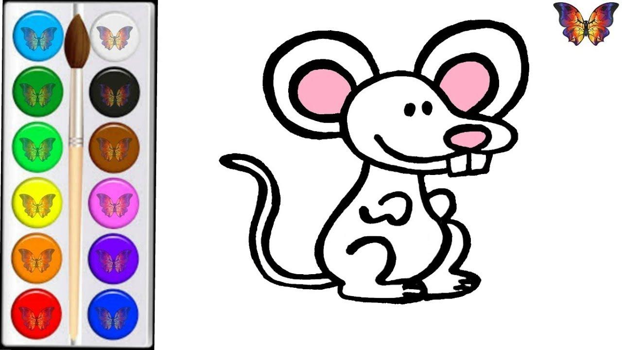 Как нарисовать МЫШКУ / мультик раскраска МЫШКА для детей ...