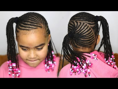 Cute Ponytail Cornrows Back To School Kids Hairstyle Youtube