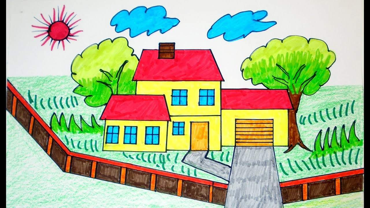 how to draw house coloring pages drawing for children learning colors for toddlers