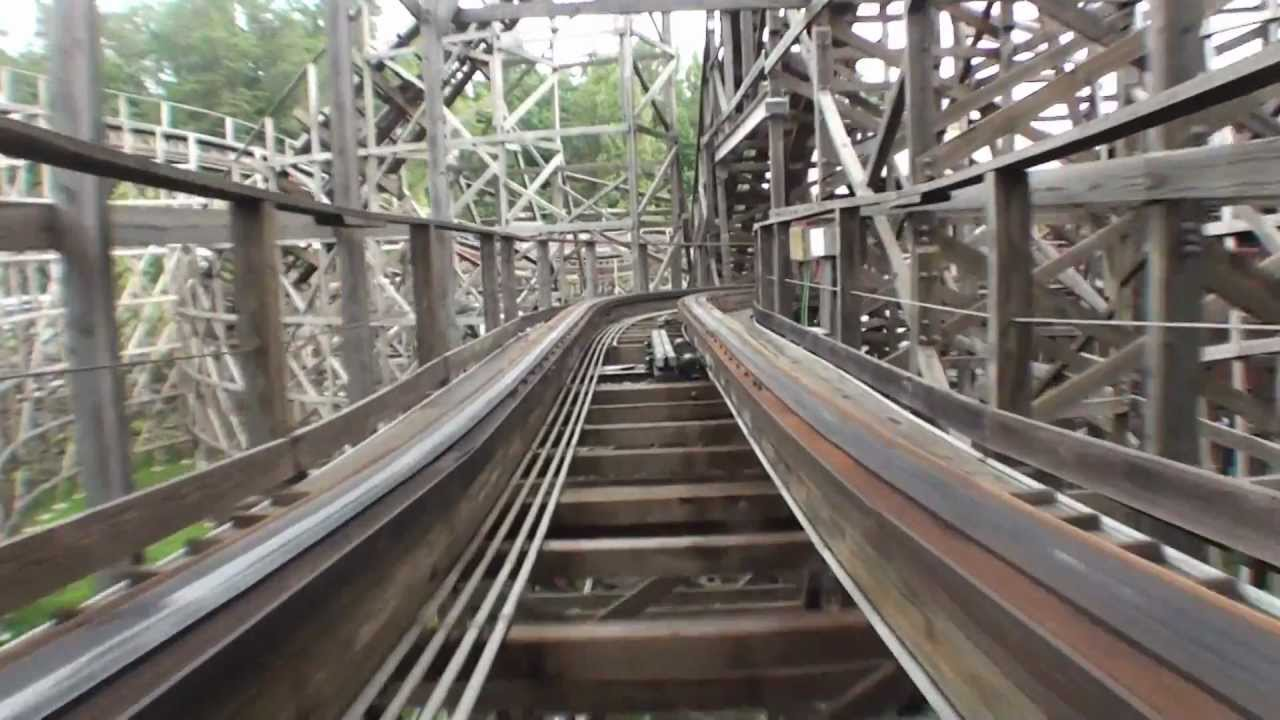 Thunderhead Roller Coaster Pov Dollywood Front Seat On Ride Wooden Rollercoaster Gci Hd