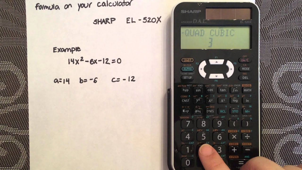 solving a quadratic using the quadratic formula and your calculator rh youtube com Scientific Calculator Sharp EL 531 Sharp Scientific Calculator