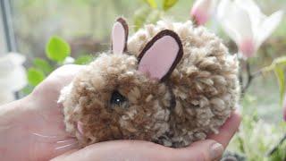 Pompom Hasen selber machen - Osterdeko selbst basteln - DIY Osterhase / Pom Pom Rabbit