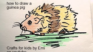 HOW TO draw a guinea pig, drawing lessons for kids, easy art lessons.