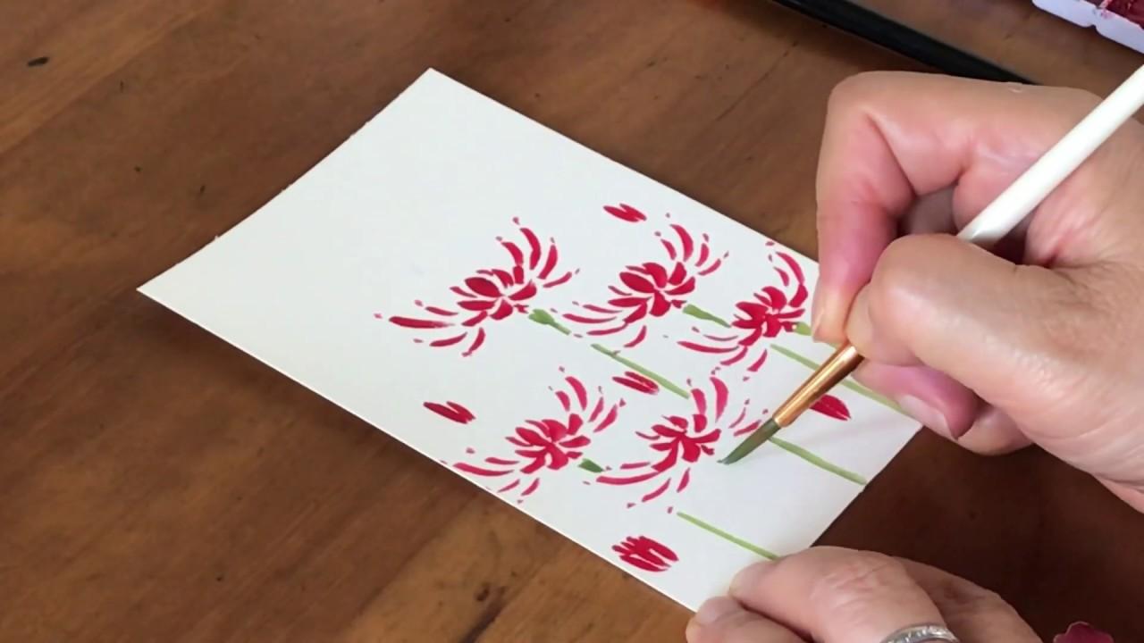 初めての人でも描けますハガキ絵 彼岸花 花 水彩画 Aquan Flower Watercolor Painting Youtube