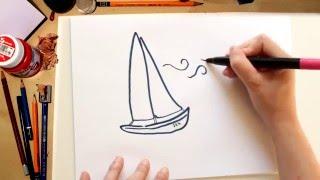 🌺🌞🐳🍦Como dibujar un Barco fácil Kawaii - dibujos de verano