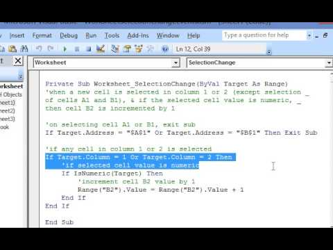 Worksheet Selection Change Event in Excel VBA - YouTube