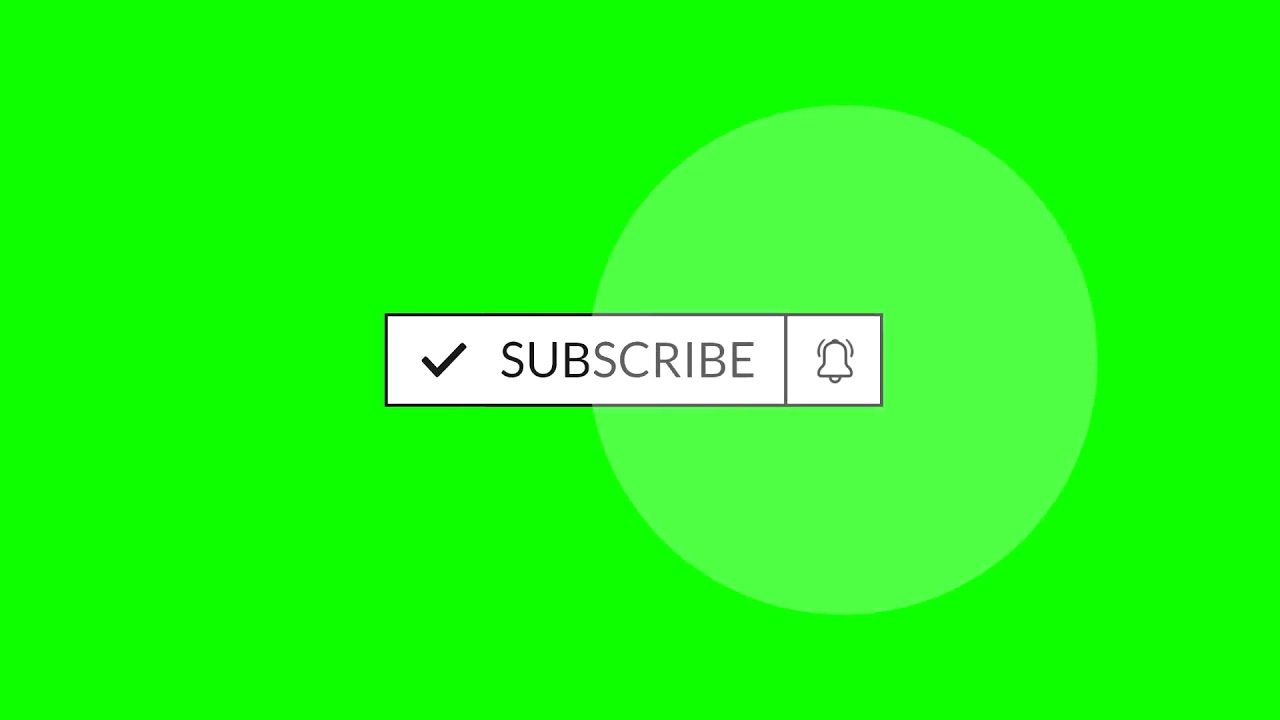 Free animated flat subscribe button, like, notification bell green screen