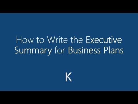How to Write a Business Plan Executive Summary - Tutorial