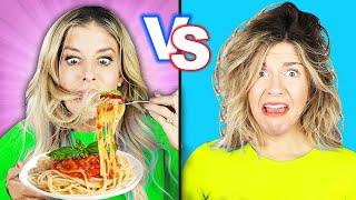 Download lagu SHORT HAIR VS LONG HAIR CHALLENGE! Rebecca Maddie Challenges