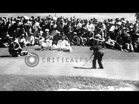 Ken Venturi and Jack Burke in the final round of the golf Masters Tournament HD Stock Footage