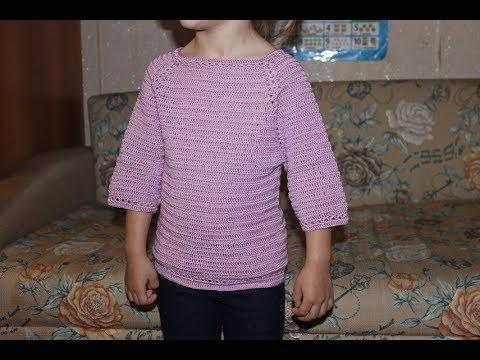 Летний джемперок  с рукавом 3/4 крючком для девочки (любой размер).