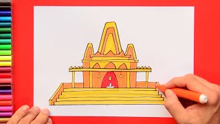 How to draw and color a Hindu Temple