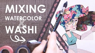 COMBINING ART MEDIUMS - Washi Tape and Watercolor... Do they mix?! thumbnail