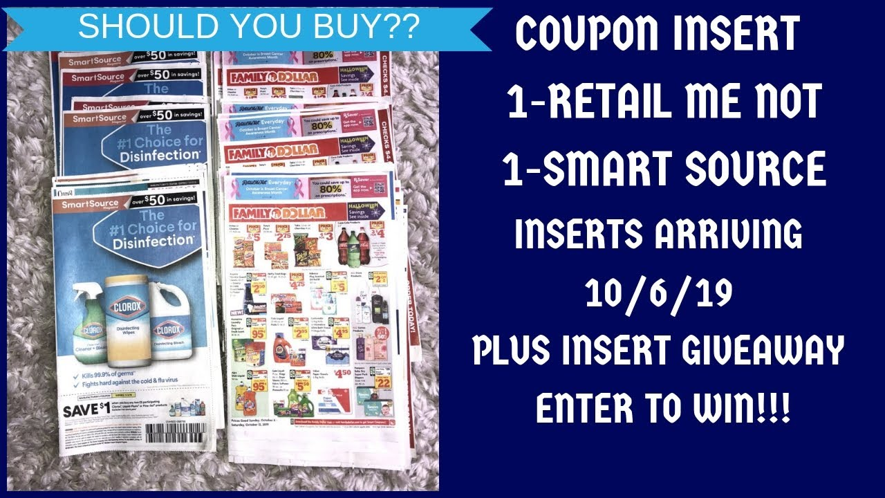 Coupon Insert Preview 10 6 19 Should U Buy Plus Insert Giveaway 1 Rmn 1 Ss For 10 6 19 Youtube