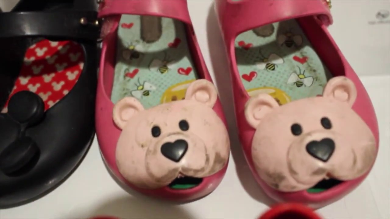 Washing our Mini Melissa shoes in the