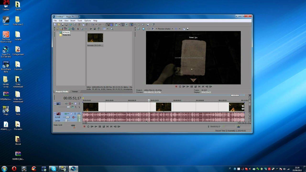 Sony vegas tutorial e separare traccia audio video e reinderizzare in HD