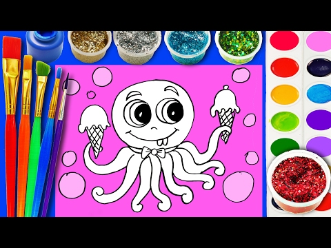Learn to Color Cute Octopus Coloring Page with Hand Watercolor Coloring Activity for Kids