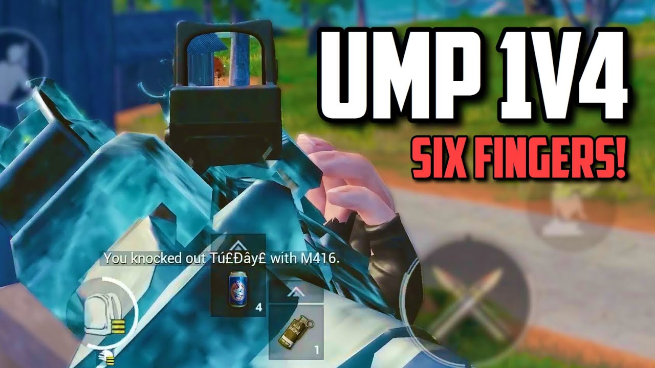 SIX FINGER claw player 1V4 with WORST weapon!! (UMP45) | PUBG Mobile Asia