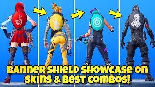 "NOUVEAU ""BANNER SHIELD"" BACK BLING Showcased With 180 'SKINS! Fortnite BR (BEST BANNER SHIELD COMBOS)"
