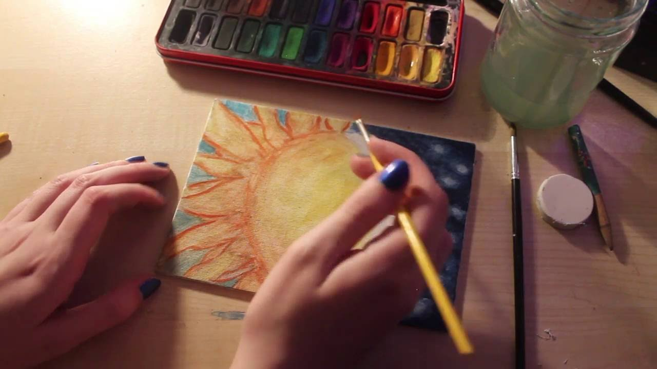 Sun And Moon Painting Watercolour On Canvas Youtube