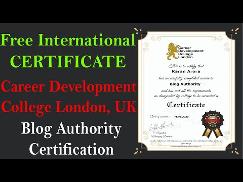 Free International Certificate - Career Development College London UK Free Online Course Certificate
