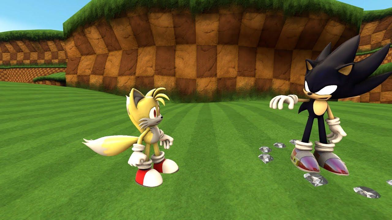 Dark Super Sonic Vs Super Tails Sfm Youtube
