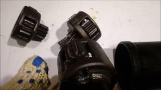 Гайковерт (мясорубка) после закрутки винтовых свай. Деформация зубьев редуктора