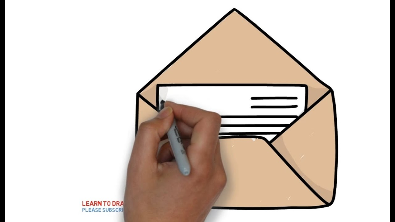 How To Draw A Mail Letter For Kids Step By Step  Youtube