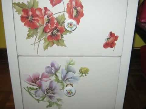 Decoupage su legno - cassettiera - YouTube