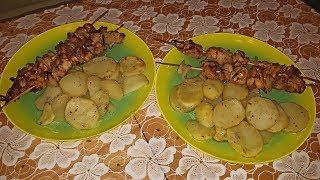 Запеченный картофель с домашним шашлыком