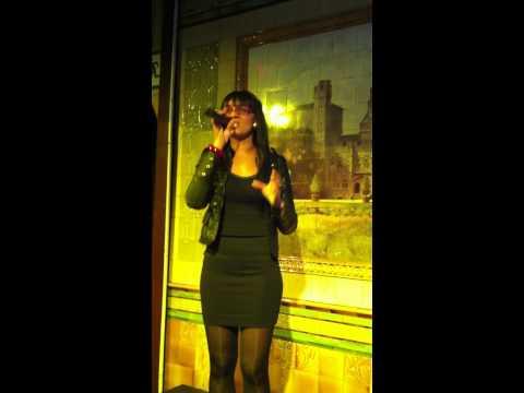 Holly Wilson on karaoke at The Golden Cross, Cardiff