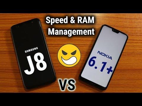 Nokia 6.1 Plus Vs Samsung J8 Speed Test   RAM Management   In Hindi
