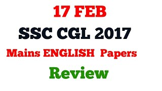 SSC CGL 2017 Mains ENGLISH PAPER REVIEW