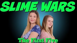 Our First 5 Slime Wars | Slime Wars Compilation | Taylor and Vanessa