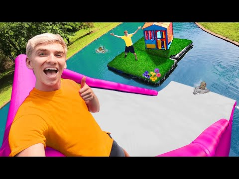 LAST TO LEAVE INFLATABLE ISLAND on BACKYARD POND WINS $10,000!! (Pond Monster Hiding In Water Slide)