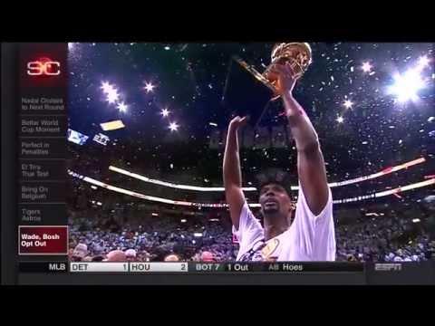June 28, 2014 - ESPN - Miami Heat's Big Three's Journey / Timeline to 2014 Free Agency