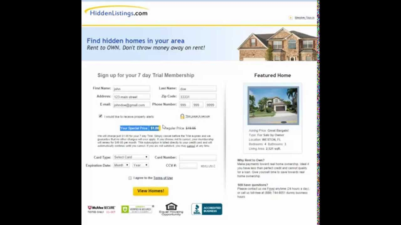 Free rent to own listings search homes now youtube for Free home search