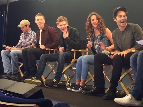 The Maze Runner Cast  with Will Poulter, Kaya Scodelario, Thomas Sangster, Dylan O'Brien