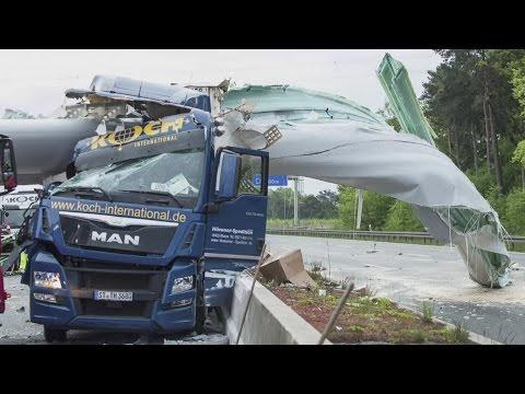 Lorry crushed by giant wind turbine blade on German motorway